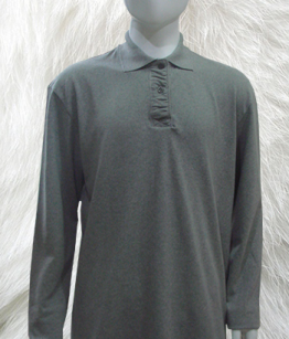 100% Cotton Polo Shirt In Grey Long Sleeve